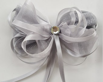 Hairbow/ Sparkly Silver/Gray/Platinum Princess Hair Bow Clip/Headband