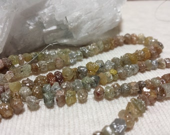 Genuine Multi Color Diamond Graduating Nugget Beads 16 In. Rough Diamonds Genuine Fancy Color Diamond Gemstone Nugget Beads