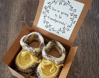 Brown/Yellow/Cream Sheepskin Sole Booties Pregnancy Announcement - Baby Reveal To Grandparents - Baby Booties Baby Announcement To Family