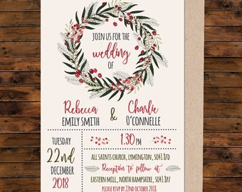 Christmas wedding invitation, christmas invitation, Wedding Invitation, Wedding Stationery, Wedding Invite, Invitation