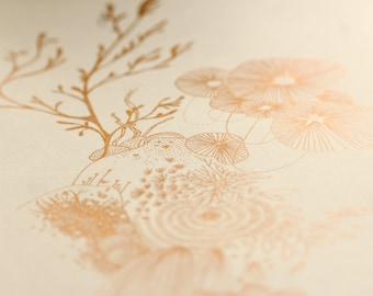 Bouquet - Unique, copper color - original artwork illustration