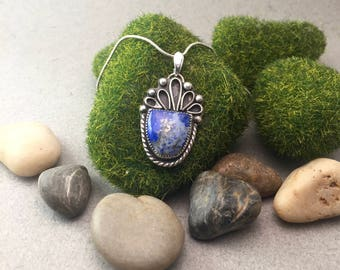 "Lapis Lazuli with Pyrite matrix ""Succulent"" Pendant set in sterling silver"