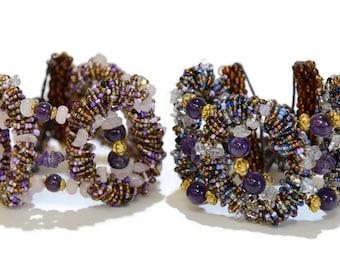 Purple Amethyst Beaded Bracelet, Purple Bracelet, Beaded Bracelet