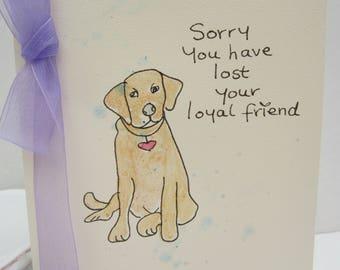 Dog Sympathy Card, watercolour card, pet sympathy card, dog condolences card, sympathy card, hand painted card, handmade card, pet loss card