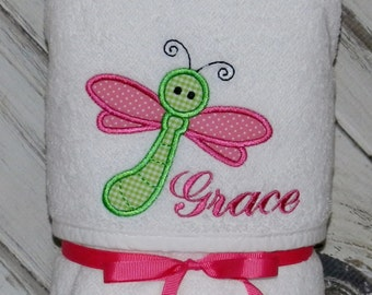 Dragonfly Hooded Baby Towel / Personalized / Baby Gift / Shower Gift