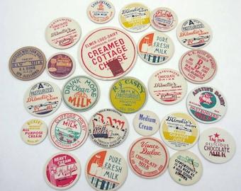 Assorted Vintage Milk Bottle Caps Set of 25 Lot B