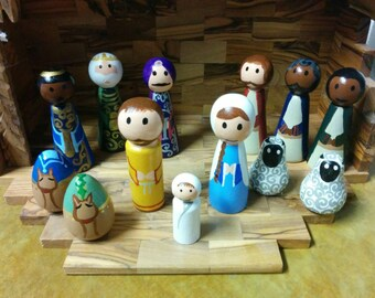 Hand Painted Wooden Nativity