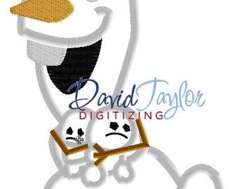 Frozen Fever Olaf w/ Snowbies - Embroidery Machine Design - Applique - 2 sizes, 7 formats - Instant Download - David Taylor Digitizing