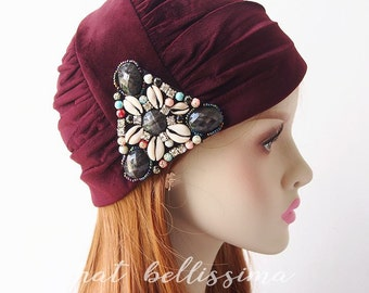 SALE Claret 1920's brimless cloche hat Vintage Style Winter hat  hatbellissima ladies' and misses' hats millinery