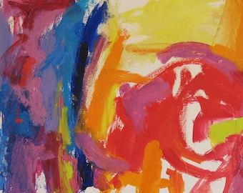 Puzzle Me Not, Original Oil on paper 12 x 16 Abstract red orange pink yellow fushcia lavender