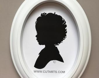 Custom White Oval Silhouette Frame