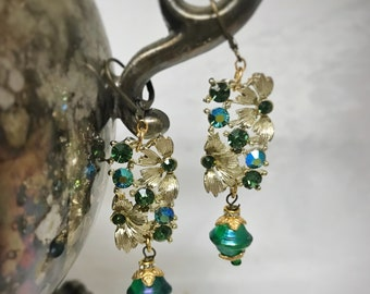 Chandelier Earrings/ Assemblage Earrings/ Vintage Crystal Earrings/ Upcycled Green Earrings/ Handmade/ Vintage Jewelry/ puddinandpeanuts