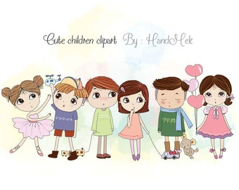 Children clipart ,cute boy and girl  clipart set , instant download PNG file - 300 dpi