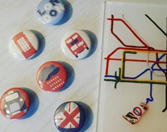 London pin badge set. London icons badges. British icons badges set. Royal wedding. British gifts. London taxi, bus, telephone box pin badge