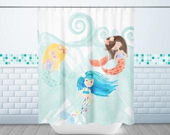 Mermaid Shower Curtain, Mermaid Friends Shower Curtain, Shower Curtain,  Long Shower Curtain,