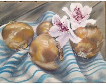 Original Oil Painting - Onions, Flowers, Tea Towel on Rustic Distressed Wood, Small Still Life Painting