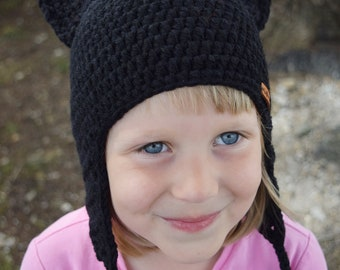 Handmade Crochet Cat hat, Black Cat hat, Kids hat, Cat hat for Girls, Cats hat with Pom pom, Character Hat, Pets hat, Ready to ship