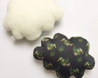 Soft Musical cloud cushion or Simple white plush and parakeets black - music box - a star in my cabin