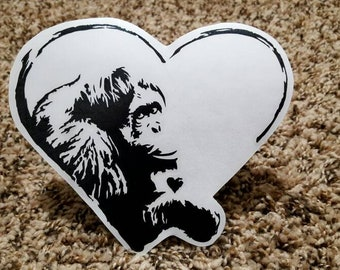 Female Orangutan in Heart Vinyl Decal