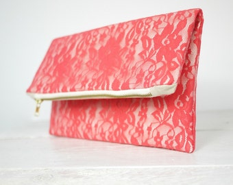 Coral lace clutch, fold over coral lace clutch | Coral Bridesmaid Clutch | Wedding Clutch in Coral