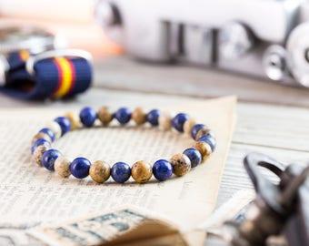 6mm - Blue lapis lazuli & brown jasper stone beaded stretchy bracelet, made to order yoga bracelet, mens bracelet, womens bracelet