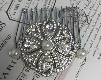 Art Deco hairpiece , Bridal comb hair accessory , wedding hair comb -  Vintage wedding headpiece, Great Gatsby