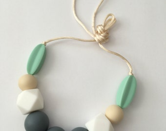 Baby silicone teething necklace grey, white, beige, mint