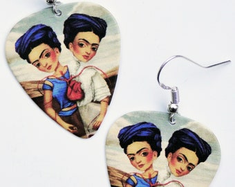 Frida Kahlo The Two Fridas guitar pick earrings Mexican Dark Art