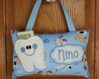 Tooth Fairy Pillow, doggie pattern, optional tooth chart available