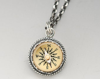 Antique Sterling Silver Working Compass Necklace, Traveling Gift, Guidance Necklace