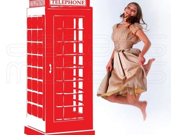 Wall decals RED TELEPHONE BOOTH Vinyl surface graphics interior decor by Decals Murals (28x70)