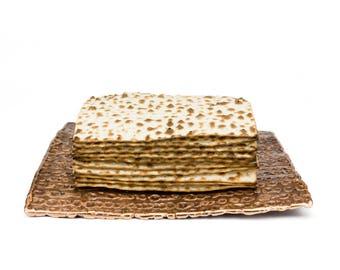 Textured Bronze Matzo/Matza/Matzah Plate for Passover