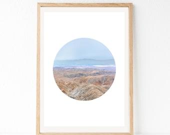 Desert Print, Desert Landscape, California Wall Art, California Print, Circle Print, Desert Landscape, Joshua Tree Print, Large Desert Art