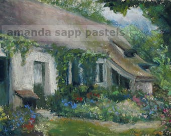 French Cottage painting-cottage pastel art-cottage and flowers painting-france landscape painting-french country painting-french decor