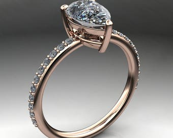 eliza ring - 1.5 carat pear cut NEO moissanite engagement ring, conflict free