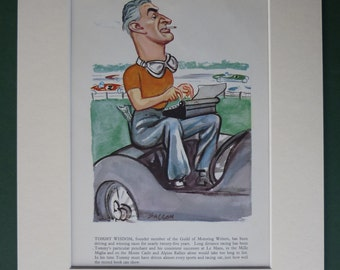 1956 Vintage Print Of Tommy Wisdom By Ralph Sallon - Motorsport Caricature - Motor Racing Car - Motoring - Race - Formula One - Grand Prix