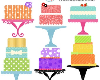 Bold Cakes Clipart Set - clip art set of bright, bold cakes, cakes on stands - personal use, small commercial use, instant download