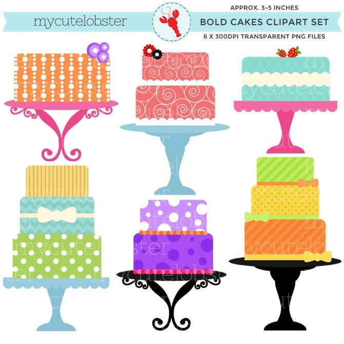 Bold Cakes Clipart Set clip art set of bright bold cakes