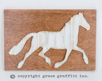 Horse Wall Art, Wooden Distressed Antique Bead Board