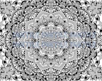 Mandala Coloring,  Adult Coloring Book Page,  Digital Download,  Relaxing, Mandala Design, Coloring Sheet