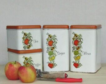 Retro - vintage canister set - orange/white - retro kitchen - vintage - glamping