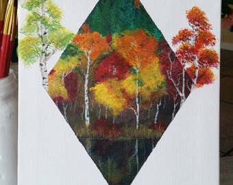 Autumn Forest Original Painting, Fall Painting, Nature Painting, Acrylic Painting, Canadian Art, Canadian Painting, Canada, Fall Leaves