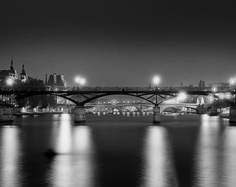 Paris Photography, Paris Bridges, Pont de Arts, Louvre Walking Bridge, Paris at Night, Fine Art Photography.
