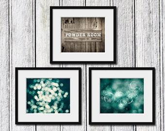 Bathroom art print set, powder room set, bathroom photography set, set of 3 prints, powder room decor, bathroom wall art, powder room art