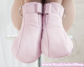 Pink Restraining Booties - Soft Padded Booties For Little One / ABDL / Adult Baby Diaper Lover / Bondage / Baby Pink