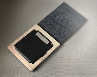 Minimalist Wallet- Credit Card Case- Business Card Holder- black- eco friendly - great gift for Men - industrial