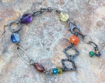 Multi GEMSTONE bracelet, asymmetrical, sterling silver with Kyanite, Peridot, Garnet, lemon Quartz, Carnelian, stacking bracelet, handmade