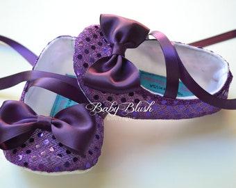 Eggplant Plum Sequin Baby Shoes Baby Ballerina Slipper