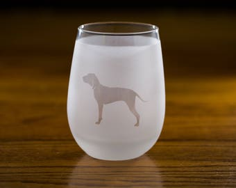 Coonhound Stemless Wine Glass Set | Birthday Gift for Dog Lover | Housewarming Present | Wine Drinker Gift | Customizable Glassware