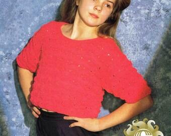 Girl's Round Neck Short Sleeve Sweater Pullover Jumper Top Size 71 - 86 cm 28-34 inch Sirdar Cloud 9 Sunseeker 4470 Vintage Knitting Pattern